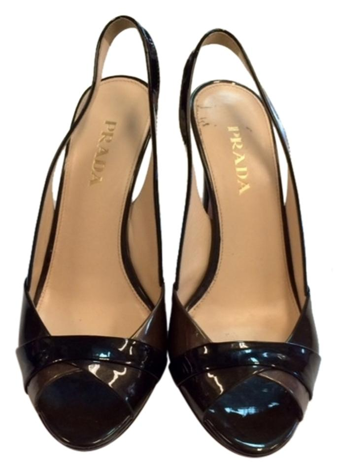 Prada Black with Silver Silver with Accent Pumps b1fb82