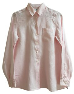 Saks Fifth Avenue Linen Tailored Mother Of Pearl Button Down Shirt Pale pink