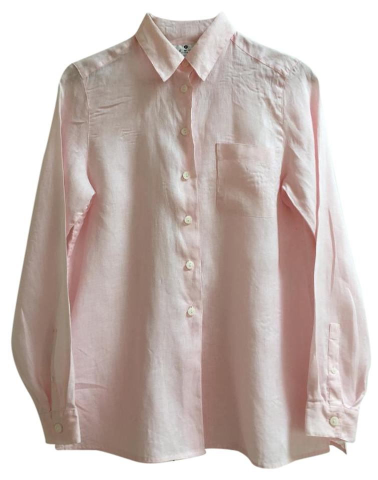 be4ef1a545 Saks Fifth Avenue Tailored Mother Of Pearl Irish Linen Button Down Shirt  Pale pink Image 0 ...