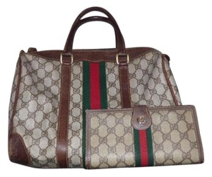 Gucci Doctor's Boston And Wallet Large Wallet Large G Logo Satchel in shades of brown with red & green