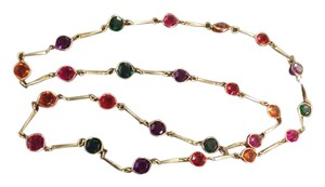 Color Crystal Stone Necklace Open Back Bezel Necklace with Colored Crystals, 17 Inches long,Nice!