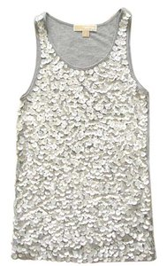 Michael Kors Sequin Sequined Paillettes Embellished Sequins Top grey silver