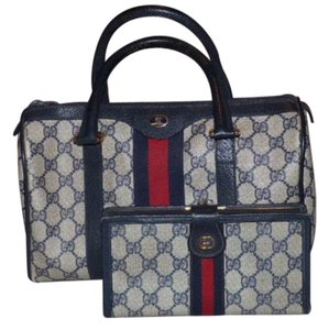 Gucci Doctor's Boston Satchel in shades of blues with red & navy