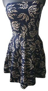 French Connection short dress Blue Strapless Graphic Print on Tradesy