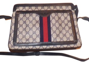 Gucci Gold Hardware Satchel in shades of blue with red & navy stripe accents