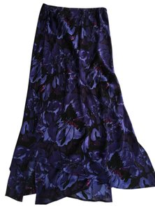 Chico's Silk Maxi Skirt BLACK/PURPLE