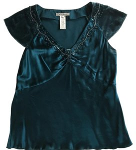 Nine West Silk Tapered Beaded Sleeveless Night Out Top Teal