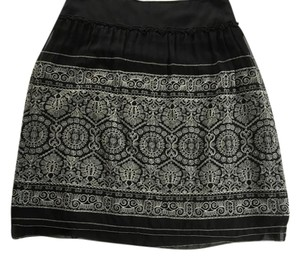 Cynthia Steffe Floral Crochet Skirt Black/Cream