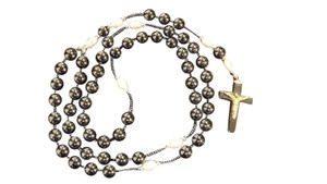 Beautiful Hematite and Pearl Rosary with Cross!