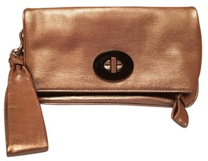 Coach Leather Wristlet in Rose Gold