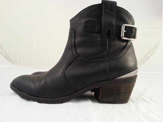 Lucky Brand Leather Buckled Ankle Black Boots