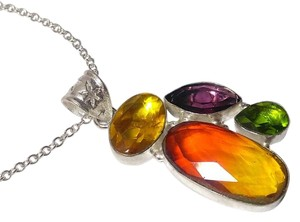 Other New Tourmaline Gemstone Necklace Pendant Silver J2737