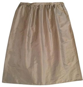 Michael Kors 100 % Silk Knee Lenght Skirt Ivory bacground with light brown stripes