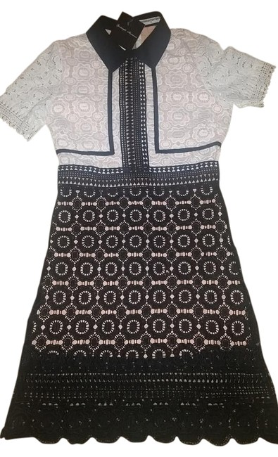 Item - Black N White Candide Lace Mid-length Cocktail Dress Size 4 (S)