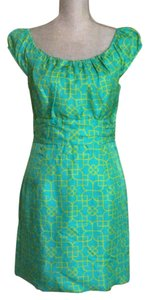 MILLY short dress Green and yellow Silk Size 6 New York on Tradesy