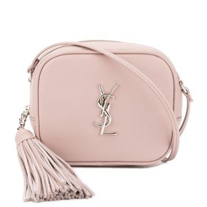 Saint Laurent Laurent Powder Pink Leather Monogram Shoulder Bag