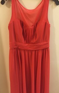 David's Bridal Persimmon Polyester Short with Sweetheart Illusion Neckline-f15701 Formal Bridesmaid/Mob Dress Size 8 (M)
