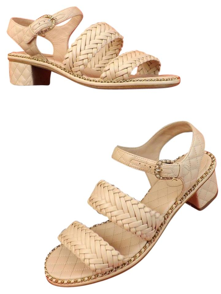 cd111351b Chanel Beige Quilted Leather Cc Logo Chain Weaved Pumps Sandals Size ...