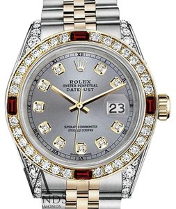 Rolex Women's Rolex Steel & Gold 31mm Datejust Watch Grey Dial Ruby & Diamond With A Track
