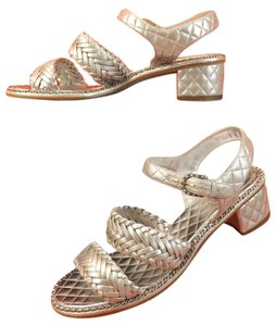 Chanel Metallic Silver Sandals