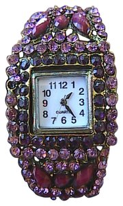 Other Purple Rhinestone Beads Fashion Quartz Bangle Watch