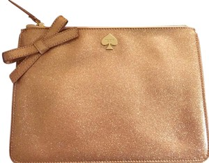 Kate Spade kate spade large rose gold glitter pouch