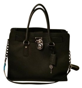 Michael Kors Saffiano Leather Large Tote in Black/Black Silver Hardware