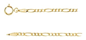 "LoveBrightJewelry Mens 2mm 14K Yellow Gold Solid Figaro Chain Necklace -18"" Chain"