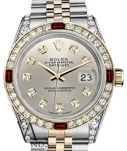 Rolex Rolex Stainless Steel Silver & Gold 36mm Datejust Dial Ruby & Diamond