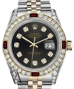 Rolex Women's Rolex S/S & Gold 31mm Datejust Chocolate Dial Ruby Diamond