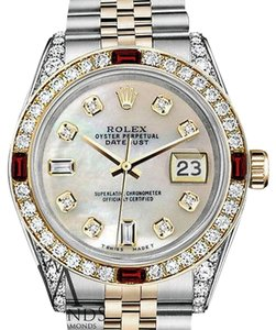Rolex Rolex Steel & Gold 36mm Datejust White MOP Dial Ruby & Diamond