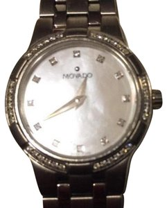 Movado MOVADO womens Watch w: Pearl Face & Square Diamond Hands On Silver Arm Bands
