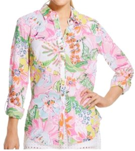 Lilly Pulitzer for Target Button Down Shirt Pink multi