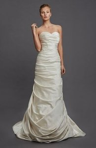 Pnina Tornai Off White Silk Satin Gown Sexy Wedding Dress Size 6 (S)