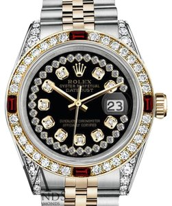 Rolex Rolex Steel & Gold 36mm Datejust Glossy Black String Ruby & Diamond