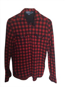 Polo Ralph Lauren Buffalo Check Button Down Shirt Black and red
