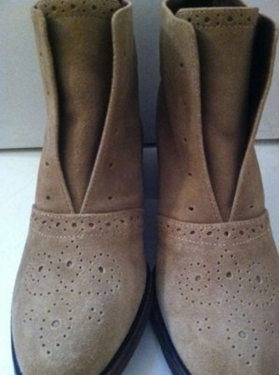 Elizabeth and James Oxford Perforated Distressed Camel Suede Boots