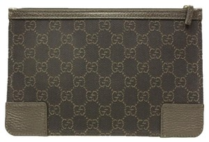 Gucci Gucci 150415 Brown Canvas and Leather Cosmetic Makeup Case Small