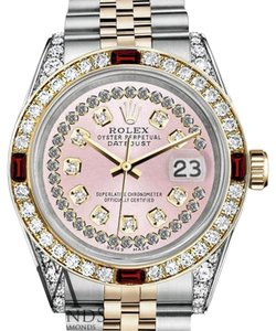 Rolex Rolex Steel & Gold 36mm Datejust Watch Pink String Dial Ruby & Diamond