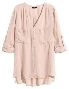 H&M Blouse Pink Blush Button Down Shirt Powder