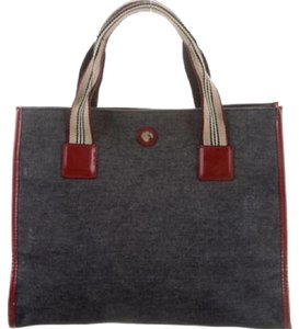 Burberry Tote in Blu Denim, Dark Red Leather Trim
