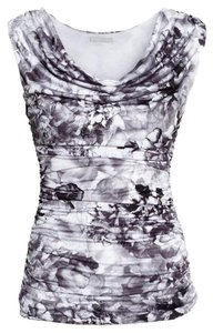 H&M Wrap Sleeveless White Black Top Floral