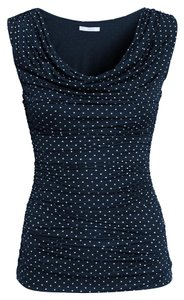 H&M Sleeveless White Polka Dot Navy Drape Top Navy Dot