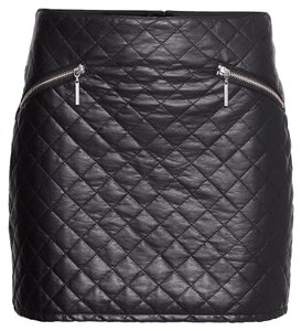 H&M Faux Quilted Mini Skirt Imitation Black Leather