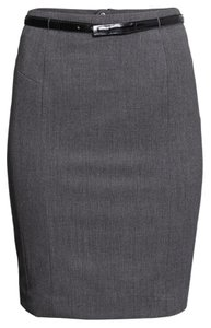 H&M Pencil Charcoal Gray Belt Skirt Gray Charcoal