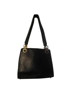 Salvatore Ferragamo Gancini Buckle Tote Pebbled Satchel in Black