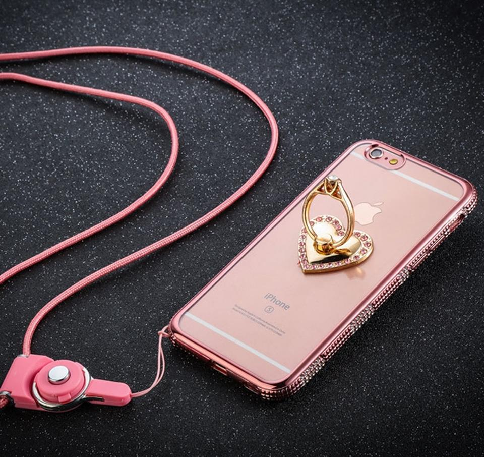 Rose Gold Diamond Iphone 7 6 6s Plus Cases With Heart Shaped Buckle