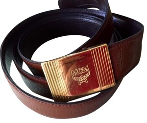 MCM Authentic Brown Embossed Leather Belt