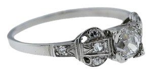 Antique Estate Art Deco Platinum 0.66ct Diamond Engagement Ring Size 8.5 EGL USA