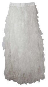 Tadashi Shoji Wedding Wedding Feather A Line Maxi Skirt White